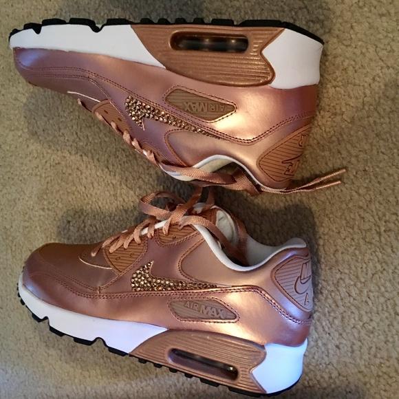 BNWB Nike Air Max 90 Rose Gold Crystal 7YWmn 8.5